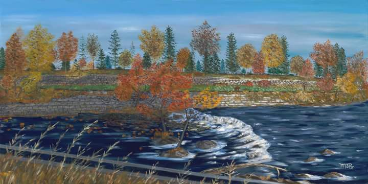 Wamesit Falls Concord River, oil painting by Mark Romanowsky