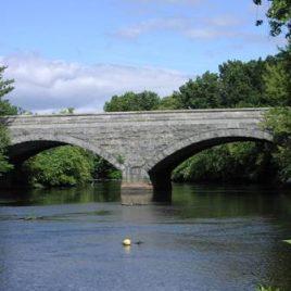 Scenic, historic stone arch bridge on Concord River