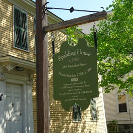 The green sign hangs when the Spalding House is closed (photo courtesy of Barbara Poole)
