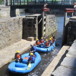 Gates (doors) will close behind and the lock chamber fills with water, raising the boat up to the level of the next lock. (1 of 3)