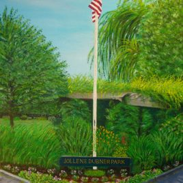 Dubner Park flag, oil painting by Mark Romanowsky