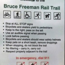 A welcome sign on the Bruce Freeman Rail Trail