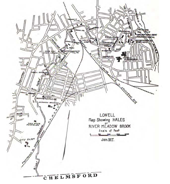 Hale's Brook Map. Lowell - 1917