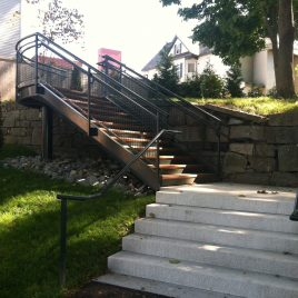 Stairs at back of Spalding House Park, leading to the Lowell State Heritage Park  and the Lowell National Historical Park's blacksmith's shop.