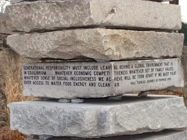 Granite stack at Lawrence Street Gateway to Greenway; Paul Tsongas quote