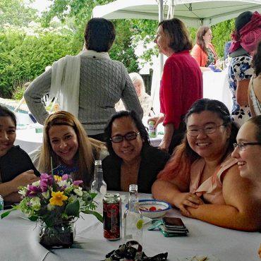 L-R: student Rithany Kheam, LP&CT Member Amanda O'Hearn, parent Stella, student Angeline Castillo, student Sarah Silva