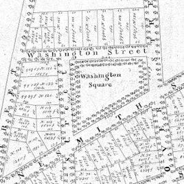 Washington Square, noted in the 1832 subdivision plan for John & Thomas Nesmith.