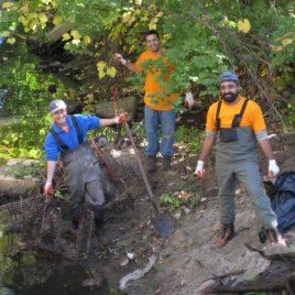 Motorola volunteers worked to clean up River Meadow Brook.